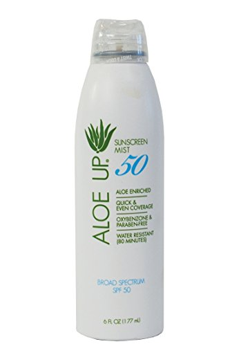 Aloe Up Sun and Skin Care Products White Collection SPF 50 Continuous Spray Sunscreen, White, Coconut-Mango, 6 Fluid Ounce by Aloe Up Sun & Skin Care Products