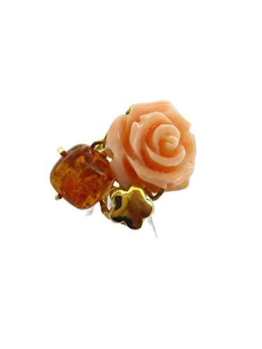 Gioielleria Damiata - Anello Donna in Oro Giallo 18 carati con Ambra e Corallo