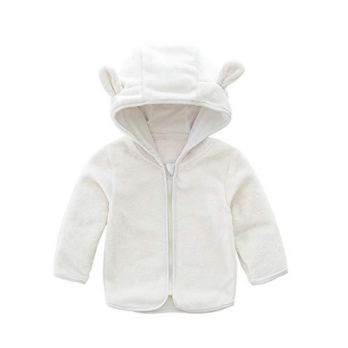 CYSTYLE Neue Kinder Mädchen Fleecejacke Frühling Herbst Winter Jacke Kinderjacken mit Bären Ohren (Weiß, 100/Körpergröße 90-95 cm)