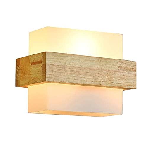 KDLAK Lámpara de pared LED para dormitorio, aplique de pared para interiores Luces de lavado de pared de madera Luz de noche blanca cálida moderna para sala de estar Dormitorio Escalera Pasillo,