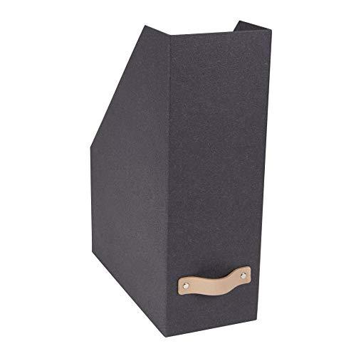 Bigso Box of Sweden Stehsammler für Zeitschriften, Magazine und Akten – praktischer Organizer aus Faserplatte und Papier in Leinenoptik – stabiler Zeitschriftenhalter mit Griff – dunkelbraun