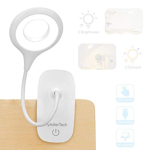 HyAdierTech Luz de Lectura con Clip, Luz de Libro LED 40 Eye Protect, Luz de Lectura de Cama de 3 Colores * 3 Brillos con Cuello Flexible, Lámpara de Lectura Recargable USB, Control Táctil