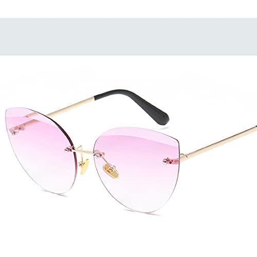 MeterBew1147 Gafas de Sol de Estilo Simple Montura sólida Gafas de Sol con Montura de Personalidad Gafas de Sol de Moda de Metal Gafas de Sol Reflectantes - Dorado, Morado y Blanco