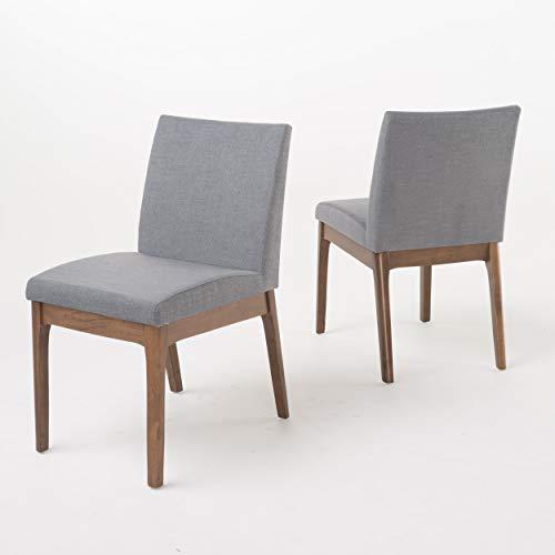 Christopher Knight Home Kwame Fabric / Walnut Finish Dining Chairs, 2-Pcs Set, Dark Grey