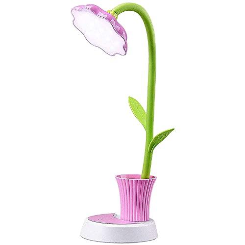 Cobeky Lámpara para niños, lámpara de escritorio recargable, sensor de presión de ojos, lámpara de mesa regulable, con soporte para bolígrafo, color rosa