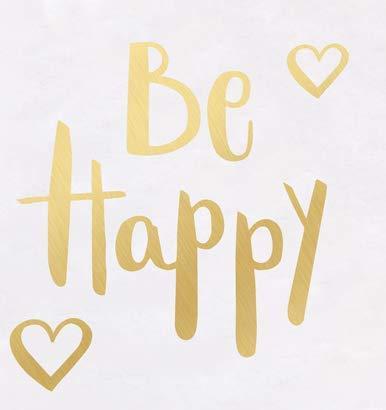 Adhesivo decorativo de pared con texto en inglés'Be Happy'