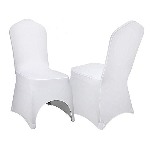 VEVOR Set 100pcs White Color Polyester Spandex Banquet Dining Chair Covers Wedding Party Use (100 pc)