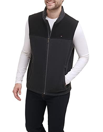 Tommy Hilfiger Men's Polar Fleece Vest, black/charcoal, Medium