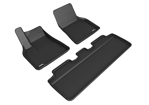 3D MAXpider All-Weather Floor Mats for Tesla Model Y 2020 Custom Fit Car Floor Liners, Kagu Series (1st & 2nd Row, Black)