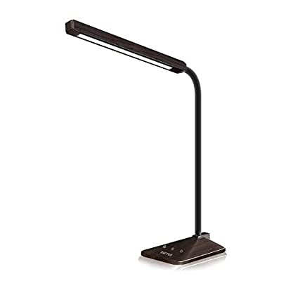 LED Desk Lamp, 48 LED Eye-Caring Table Lamps, Dimmable Office Lamp with Touch Control, 5 Lighting Modes with 5 Brightness Levels, Wood Grain Finish, 8W