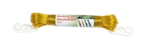 WÄSCHELEINE 20m rutschfest 2x Haken Camping Wäsche Leine 4 Farben (0,27/m) 37 (Gelb)