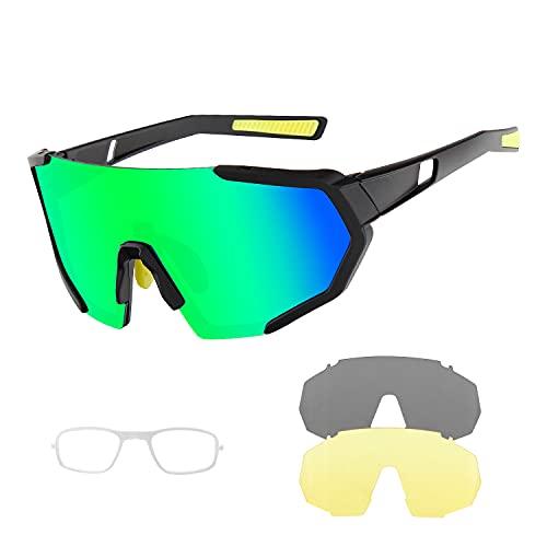 BangLong Occhiali Ciclismo Polarizzati Occhiali Sportivi UV400 per Uomo Donna con 3 Lenti Intercambiabili per la Guida, Pesca, Golf, Baseball, MTB e Corsa