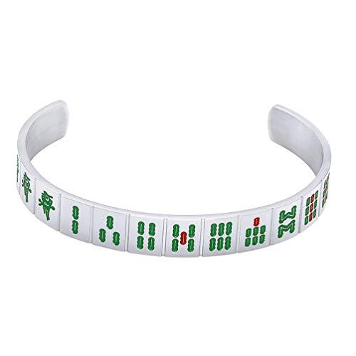 Happyyami Mahjong Pulsera Brazalete de Acero de Titanio en Forma de C Pulsera de Amuleto de La Suerte Pulsera de Cadena de Mano Unisex Regalo de Joyería para Hombres Mujeres