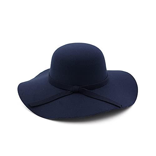 WAZHX Cappellino A Tesa Larga Cappelli A Cupola in Lana di Alta qualità Cappello A Cloche Nero da Donna 52-55 Cm Navyblue