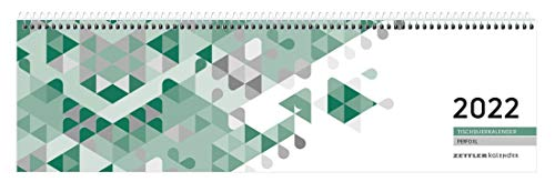 Tischquer-Kalender 2022 36,2x10,6 - 1W/2S grün/weißes Papier grün Perforation - Bürokalender 36,2x10,6 - 1 Woche 2 Seiten - Stundeneinteilung 7-20 Uhr - 136-0013-1