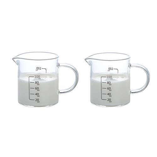 LXHOME Vaso de leche de cristal, jarra medidora con diferentes medidas, ideal como utensilio de cocina y accesorios para hornear (2 unidades x 100 ml)