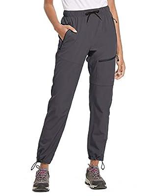 BALEAF Women's Hiking Cargo Pants Outdoor Lightweight Capris Water Resistant UPF 50 Zipper Pockets Deep Gray Size L
