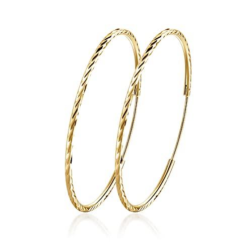 Orecchini a cerchio in argento Sterling T400, misura piccola, grande, placcati in oro, per donne e ragazze sensibili, misura 25, 35, 45, 55, 65, 75 mm