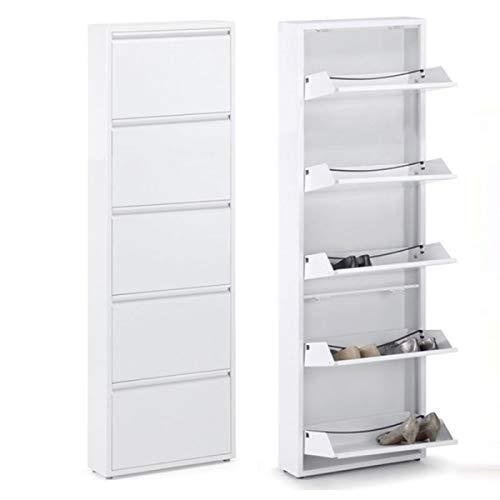 Home Gadgets - Soporte para zapatos, metal, blanco, 171 cm, 5 cajones, zapatero, zapatero