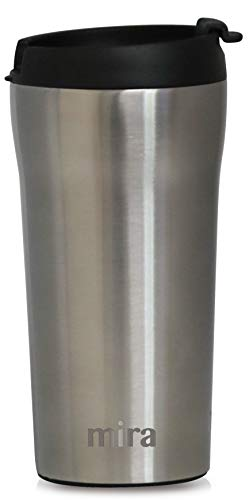 MIRA 12 oz Stainless Steel Insulated Travel Mug for Coffee & Tea | Vacuum Insulated Car Tumbler Cup with Spill Proof Twist On Flip Lid | Thermos Keeps Drinks Hot or Ice Cold | Stainless Steel
