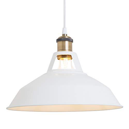 Haian Support ペンダントライト E26 引掛けシーリング 1灯 白 天井照明 LED 電球対応 北欧 インダストリアル レトロ 照明器具 鉄 リビング ダイニング 食卓用 引き掛けシーリングライト 電球別売り 簡単取り付け 工事不要