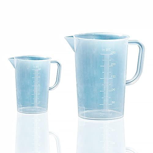 Joycabin - Vaso medidor transparente, 2 unidades, vaso medidor pequeño con báscula, vaso medidor de precisión para detergente, cocina, laboratorio, 100 ml + 250 ml