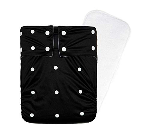 Kawaii Baby Reusable Washable Cloth Diaper with 1 Insert/Incontinence Care Protective Underwear, Men Women Teen (Black)