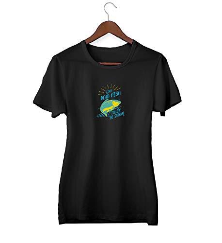 Dead Fish Swim In Stream Awkward Slogan_KK016244 Shirt T-Shirt Tshirt Für Frauen Damen Gift for Her Present Birthday Christmas - Women's - Large - Black