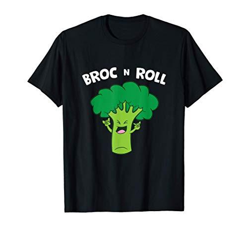 Broc N Roll Vegetable Broccoli Pun Rock N' Roll Maglietta