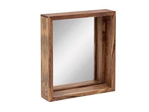 Woodkings® Bad Spiegel Sydney Holz Rahmen Badspiegel mit Ablage Wandspiegel Badmöbel Badezimmermöbel Schminkspiegel (Akazie hell, 56x65)