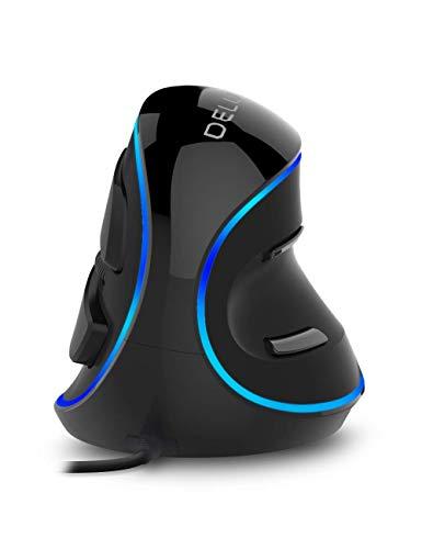 DELUX Mouse verticale ergonomico, cablato con 3 DPI regolabili (800-1200-1600 DPI), 6 pulsanti, poggiapolsi rimovibile, mouse ottico per computer portatile (luce a colore singolo)