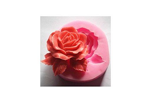 Hemore Flor Rosa Grande de Silicona Molde Utensilios decoración Fondant Galletas 3D Molde jabón Molde Chocolate