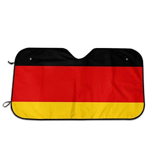 Duitsland Vlag Auto Voorraam Zonnescherm Voorruit Zonnescherm Venster Voorruit Cover Universele Fit Auto UV Ray Zon en Warmte Visor Bescherming (27,5 X 51 Inch)