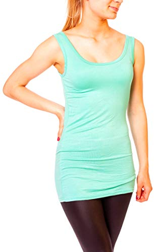 Easy Young Fashion Damen Basic Tank Top Träger Hemd Longtop Unterhemd Extra Lang Skiny Fit One Size Aqua