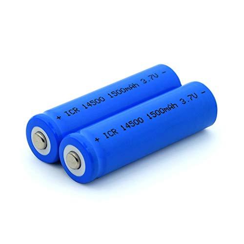 zhoudashu Blaue ICR 14500 3.7V 1500mah, Akkus Li-Ionen Lithium Akku Lange Lebensdauer mit Gehäuse Box 2pieces