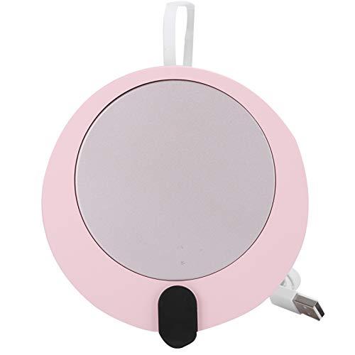 CHICIRIS Alfombrilla calefactora, Calentador de Tazas Ligero USB, para cerámica, Vasos, Acero Inoxidable, biberones, Halloween, Oficina en casa(Rosado)