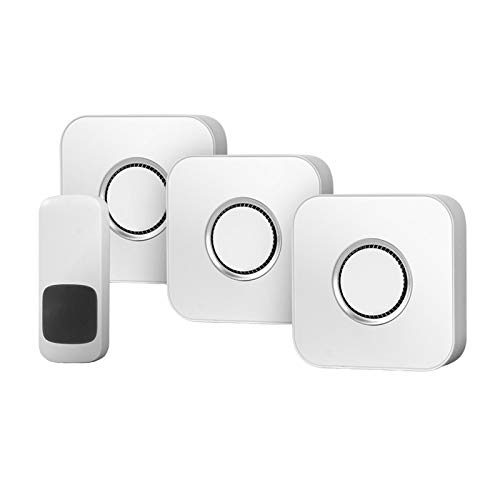 HAOXIANG Wireless Doorbell, Waterproof Cordless Door Chime Kit, Entry Bell with 450M Range, 52 Chimes, 4 Volume Levels, Best for Home/Office