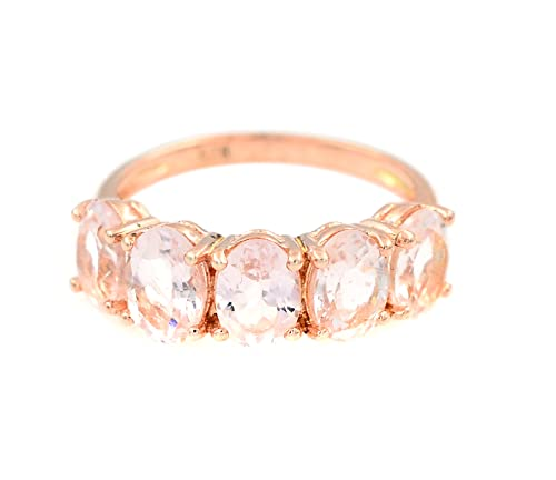 Natural 7X5 MM Pink Morganite Oval Cut 925 Sterling Silver October Birthstone Engagement Ring Silver Jewelry Gift For Her Christmas Gift (Rose Gold Rhodium Plated Silver, 8)