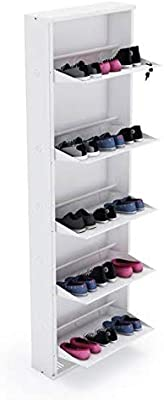 """Crust Five Shelves 21"""" Inches Wide White Shoe Rack"""