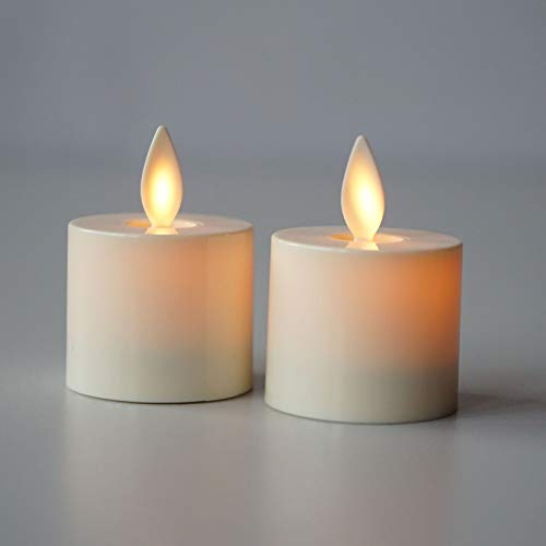 Braides Candles and Holders Flameless LED Moving Wick Ivory Tea Light Candle Remote Timer Set of 2 (Eco Candles and Quality Holders)