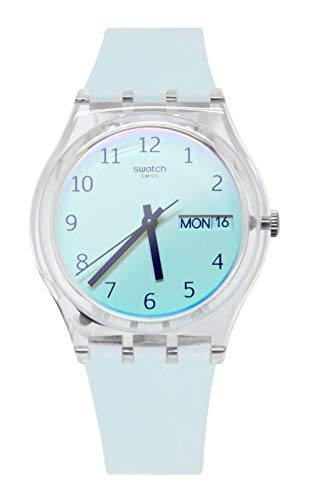 Swatch Damen Analog Quarz Uhr mit Silikon Armband GE713