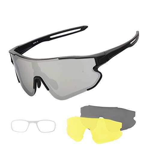 SUUKAA Occhiali Ciclismo CE Autentica Polarizzati con 3 Lenti Intercambiabili Occhiali Bici Antivento e Antiappannamento Occhiali Sportivi da Sole Anti UV da Uomo Donna per Corsa, MTB e Running
