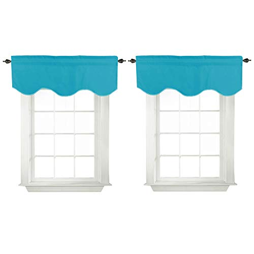 """Turquoize Blackout Curtains Scalloped Valances Short Curtain Panels for Kitchen(52"""" x 18"""" inches, Teal, 2-Packs)"""