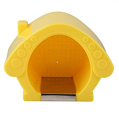 Hamster House Yellow Plastic Summer Hideout Home with Stainless Steel Cooling Pad Mat Bed for Guinea Pigs Hamster Chinchilla and Other Amall Animal from Sheens