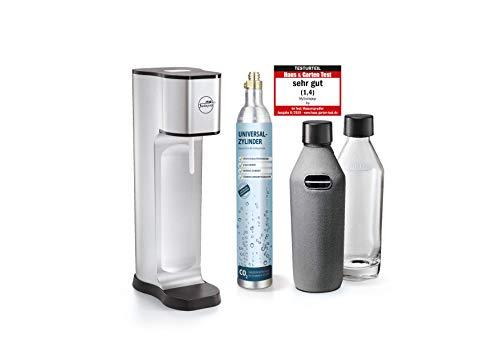 Sodapop JOY PRESTIGE - Trinkwassersprudler inklusive zwei Glaskaraffen mit Bottle-Shirt und CO2-Zylinder, silver