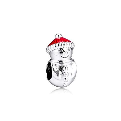 Regalo para Mujer, Cuentas De Plata De Ley 925, Muñeco De Nieve, Sombrero De Navidad, Abalorios para Fabricación De Joyas, Pulseras De Europa, Accesorios De Bricolaje