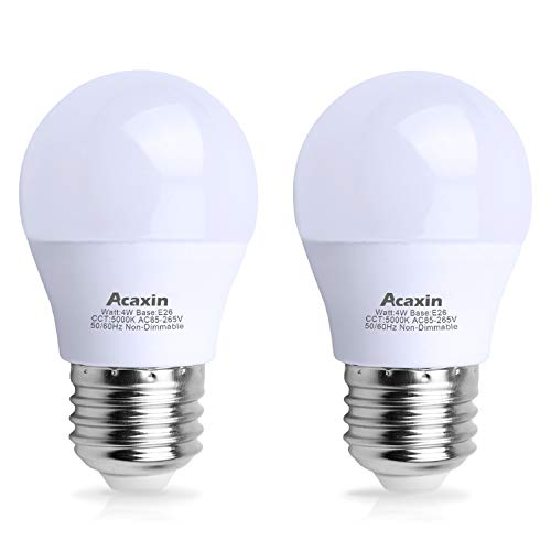 LED Refrigerator Light Bulb 4W 40Watt Equivalent, Acaxin Waterproof Frigidaire Freezer LED Light Bulb IP54, 120V E26 Daylight White 5000K 400 Lumen, Energy Saving A15 Appliance Fridge Bulbs, 2 Pack