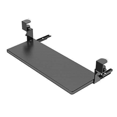 ZYZZ Holz Tastatur Unter Tisch mit Klemme Ergonomisch Under Desk Keyboard Drawer Einstellbar Tastatur Schubladenauszug Ohne Bohren-Schwarz,64x25cm