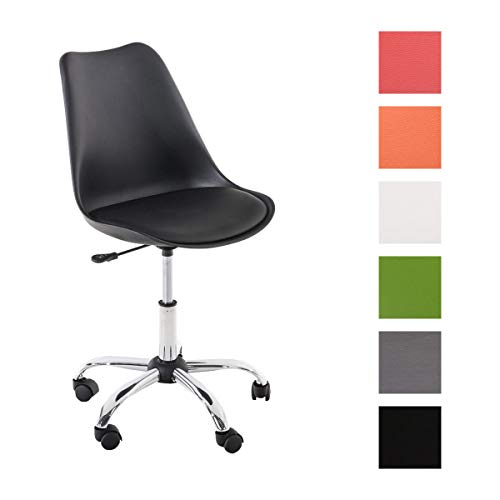 Schreibtischstuhl PEGLEG mit Kunstlederbezug I Höhenverstellbarer Bürostuhl mit Laufrollen I Drehstuhl mit robustem Metallgestell, Farbe:schwarz