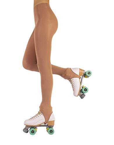 CALZITALY Collant Skating Staffa Donna | Calze Con Ghetta Pattinaggio | 70 DEN | Naturale, Nero, Caramello | Made in Italy (S, Naturale)